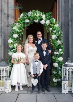 Our Brifde and Groom posing under a beautiful wedding floral Arch with their Flower Girl and Page Boys Civil Ceremony, Wedding Ceremony, On Your Wedding Day, Perfect Wedding, Wedding Gallery, Wedding Photos, Bride Speech, Wedding Brochure, Groom Poses