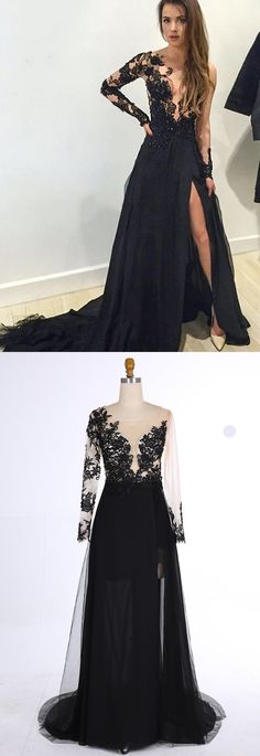 Mermaid prom/evening dress, black dress,v-neck dress, sweep train with appliques.