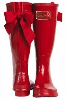 kırmızı fiyonklu joules yağmur çizme