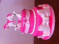 Rocking horse baby shower cake by Donna Belle Desserts www.donnabelledesserts.com