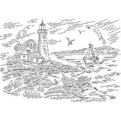 Pattern Detail | Lighthouse and Fisherman | Needlecrafter
