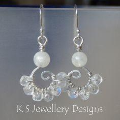 Rainbow Moonstone & Sterling Silver Swirl Earrings (KS12) by KSJewelleryDesigns, via Flickr