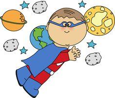 Superhero Boy Flying In Space Clip Art - Superhero Boy Flying Image