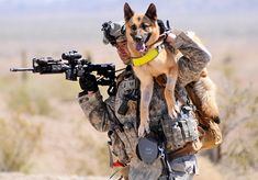 "Air Force Technical Sergeant Adam Miller carries his dog, Tina M111, to ""safety"" in a training session held in 114-degree heat. Dog handlers in all branches of the military have to go through intensive training sessions--and can be punished harshly if they mistreat their dogs."