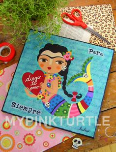 """FRIDA KAHLO Dia de Muertos Day of the Dead Love Mermaid with Heart 12"""" x 12"""" PRINT of painting by LuLu Mypinkturtle available in my Etsy shop here https://mypinkturtleshop.etsy.com"""