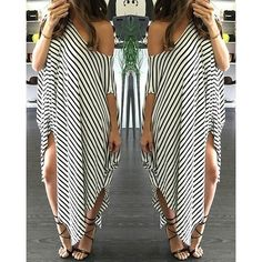 ✨last one✨ Sara Maxi Dress Off the shoulder very loose fitting stripped maxi dress. Symmetrical dress with openings on each side at the bottom of the dress. Bundle to save $$$$$....HAPPY POSHING!!! Dresses Maxi