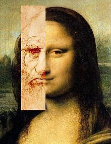 Lillian Schwartz's Comparison of Leonardo's self portrait and the Mona Lisa based on Schwartz's Mona Leo. An example of a collage of digitally manipulated photographs