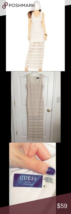 Guess maxi off white dress ❤ It is size 2 but it fits both sizes 2 and 4 I wore it on time, perfect condition Guess Dresses Maxi