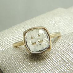 Handmade Engagment Ring, White Topaz and Recycled 14k Gold, Rose Cut Topaz, Recycled Gold, Eco Friendly, Simple Engagement Ring. $395.00, via Etsy.
