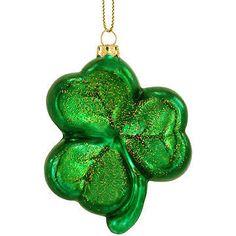 2010 Green Shamrock Glass Ornament Will