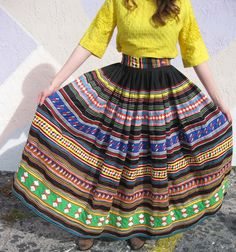 Bright Patchwork Seminole Indian Skirt by YesterDazeVintageFL