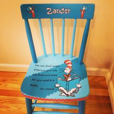 Dr Seuss custom painted boys chair. Painted for a little boy. Done in classic Dr. Seuss colors. Hand painted by Painted Chairs, Etc.  Seattle, Wa. Custom orders welcomed.