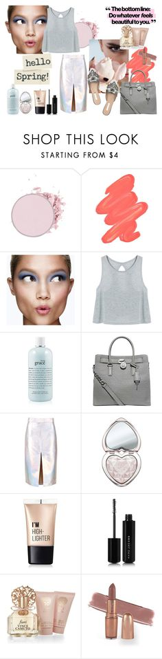 """""""Hello Spring!"""" by galyasedina ❤ liked on Polyvore featuring Obsessive Compulsive Cosmetics, Clinique, Oscar de la Renta, philosophy, MICHAEL Michael Kors, Too Faced Cosmetics, Charlotte Russe, Marc Jacobs and Vince Camuto"""