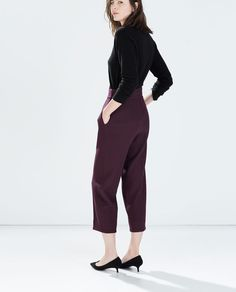 Image 5 of HIGH WAISTED WIDE CROPPED TROUSERS from Zara