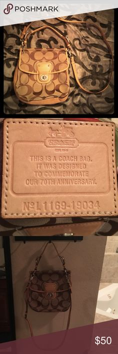 """Coach 70th Anniversary Crossbody Bag Signature fabric with leather trim Inside multifunction pocket Outside pocket Turnlock closure, fabric lining Handle with 5"""" drop Longer strap for shoulder or cross body wear Coach Bags Crossbody Bags"""