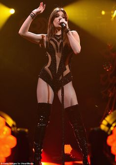 Racy look: The star Hailee Steinfeld looked leggy in a sparkly bodysuit and thigh-high boots. Hailee Steinfeld, Jennifer Lopez, Looks Adidas, Pitch Perfect, Stage Outfits, Beautiful Celebrities, Curvy Celebrities, Thigh High Boots, Sexy Women
