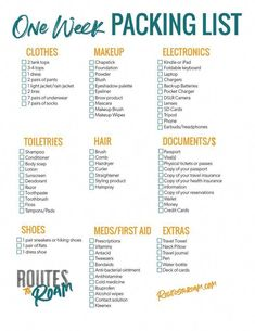 One Week Packing Checklist for a week long vacation - A printable packing list to keep you organized when you travel packinglist packing travel traveltips organization 850054498394337411 Roadtrip Tips, Travel Packing Checklist, Printable Packing List, Travel Bag Essentials, Packing List For Vacation, Travelling Tips, What To Pack For Vacation, Road Trip Checklist, Packing List For Europe