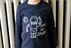 Astronaut Spaceship Outer Space Moon Alien Give Me Space Long Sleeve Tshirt- Kids Navy (22.00 USD) by charlieandsarah