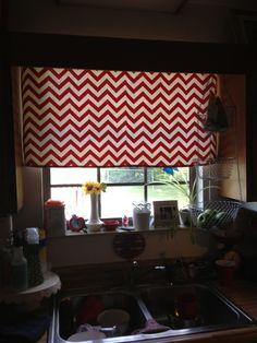 Kitchen curtains in red chevron :)