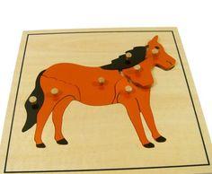 www.malinowyslon.pl  Puzzle drewniane KOŃ pomoce Montessori  Materiał edukacyjny wykonany z wysokiej jakości drewna w celu zobrazowania budowy zwierząt. Puzzle przedstawiają konia i składają się z malowanych elementów drewnianych z drewnianymi gałkami