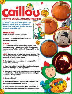 Caillou Halloween Fun: Pumpkin Carving Template