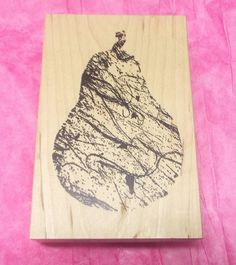 Collage Art rubber stamp Pear Fruit Wood Mounted by NoodlesNotions on Etsy