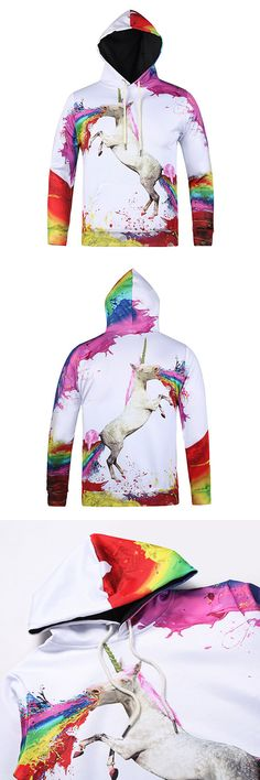 Mens Hoodies Original 3D Colorful Unicorn Printing Fashion Casual Sport Hooded Tops