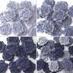 12 Blue Purple Sugar Roses edible flowers wedding cake decorations 4 OPTIONS