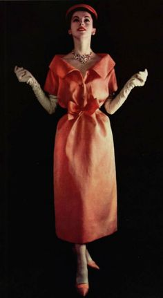 1957 Dior fashion style couture dress vintage 50s 60s red orange tie collar day dress cocktail color photo print ad model magazine