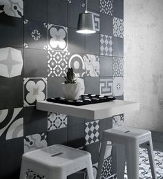 black and white wall tile