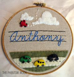 Custom Name Embroidery Hoop Art by The Phantom Moon, via Flickr