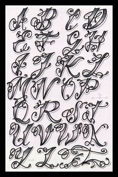 Cholo Tattoo Alphabet tattoo - tattoo quotes - tattoo fonts - watercolor tattooSource dog tattoo - t Alphabet A, Alphabet Graffiti, Style Alphabet, Tattoo Fonts Alphabet, Hand Lettering Alphabet, Tatto Letters, Pretty Fonts Alphabet, Grafitti Letters, Calligraphy Tattoo Fonts