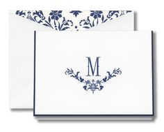 Seaside Monogrammed Note Cards with Navy Border