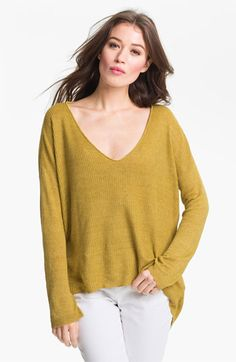 Eileen Fisher 'Delave' Linen V-Neck Sweater available at Nordstrom