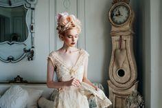'Lily-Elsie' champagne beaded lace and silk chiffon wedding dress www.joanneflemingdesign.com