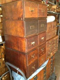 Anyone near New Haven Connecticut, or the Providence Rhode Island area? This person seems to have tons and tons of card catalogs and similar storage units, as well as something like 400 loose card catalog drawers.
