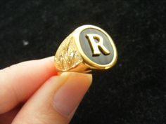 Monogram Ring Custom Made In 9 k Gold. by Regnas on Etsy