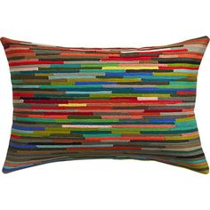 color rush.  Abstracting the graphic lines of city transit maps, this chromatic design has linear momentum.  Embroidered in a bold spectrum of color, lines stop and start with succinct motion and texture.  100% cotton rectangle reverses to solid grey.  Do the math: CB2 low prices include a pillow insert in your choice of plush feather-down or lofty down-alternative (a rare thing indeed).