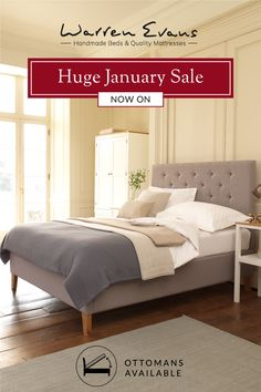 Our January Sale is Now On! #MakeRoom this January with Warren Evans... more storage, great savings, better sleep. From handmade Wooden beds to our gorgeous range of fabric, Upholstered and Ottoman beds, there's something to suit every taste, style and need! #JanuarySale #Sale #Beds