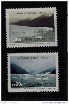 SET 2 STAMPS - UNESCO WORLD HERITAGE - GLACIERS - 1984 - ARGENTINA - **/MNH - Delcampe.net