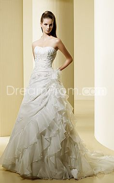 Amazing A-line Strapless Floor-length Chapel Tiered Wedding Dresses