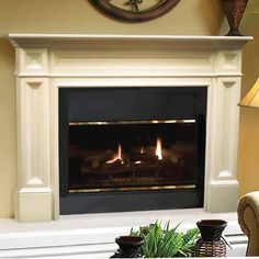 The Pearl Mantels The Classique Fireplace Mantel Surround gives a fireplace a wholesome look. This fireplace mantel surround is available in different finishes and sizes. Made from Asian hardwoods, this firep Fireplace Surrounds, Wood Fireplace, Wood Fireplace Mantel, Open Fireplace, Fireplace Mantel Surrounds, Fireplace