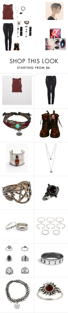 """""""My version of Scarlet Witch."""" by shadow-182 ❤ liked on Polyvore featuring Aerie, Balmain, Bling Jewelry, Dr. Martens, Free People, Pamela Love, Luv Aj, Forever 21, Topshop and Rachel Entwistle"""