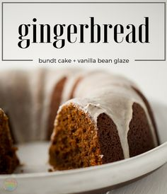 The best Gingerbread Bundt Cake ever! Totally vegan with a vanilla bean coconut glaze. Holiday treat #dessert
