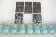 Life of a Vintage Lover: Budget Savvy.  Mason jars for glasses that you can write your name on and not lose your drink!