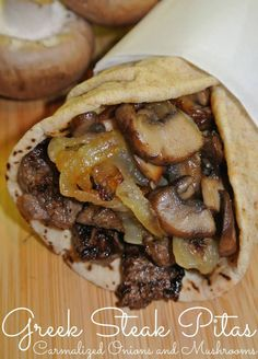 Greek Steak Pitas with Carmalized Onions and Mushrooms is the most requested meal from my husband When I ask my husband what do you want for dinner tonight honey? He always wants Greek Steak Pitas. It's my husband's most requested meal. Greek Recipes, Meat Recipes, Cooking Recipes, Healthy Recipes, Steak Sandwich Recipes, Recipies, Recipes With Pita Bread, Pita Bread Fillings, Stuffed Burger Recipes