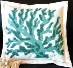 Hand-painted Coral Turquoise Indoor & Outdoor Pillow