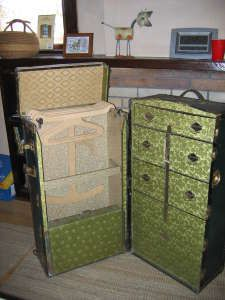 Steamer trunk with complete contents