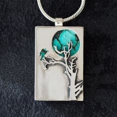 sterling turquoise moon and crow pendant
