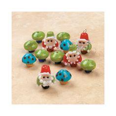 Gnome & Mushroom Lampwork Glass Beads - 10mm - 15mm - OrientalTrading.com